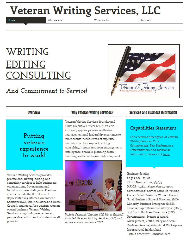 Veteran Writing Services Website Snapshot